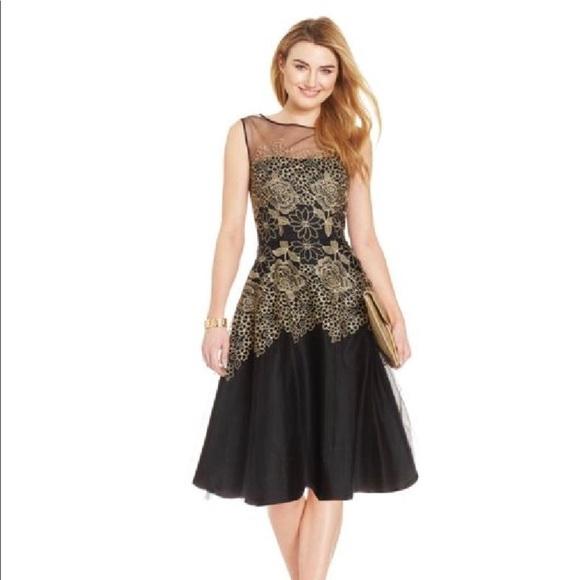 Tahari Dresses | Asl Metallic Floral Cocktail Dress Nwt | Poshmark